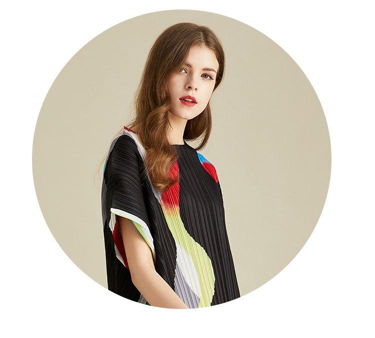 Miyake tamanho grande colorido correspondência de cores solto vestido manga curta vestidos plissados frete grátis lanxin - 3