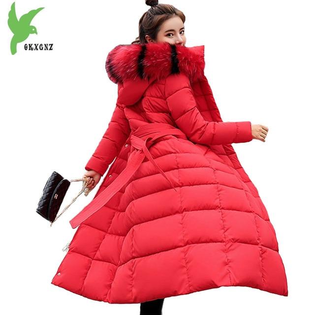 291924c6f04d1 Alargar algodón chaqueta mujeres parkas invierno grueso Cuello de piel  cálido Abrigo con capucha más tamaño