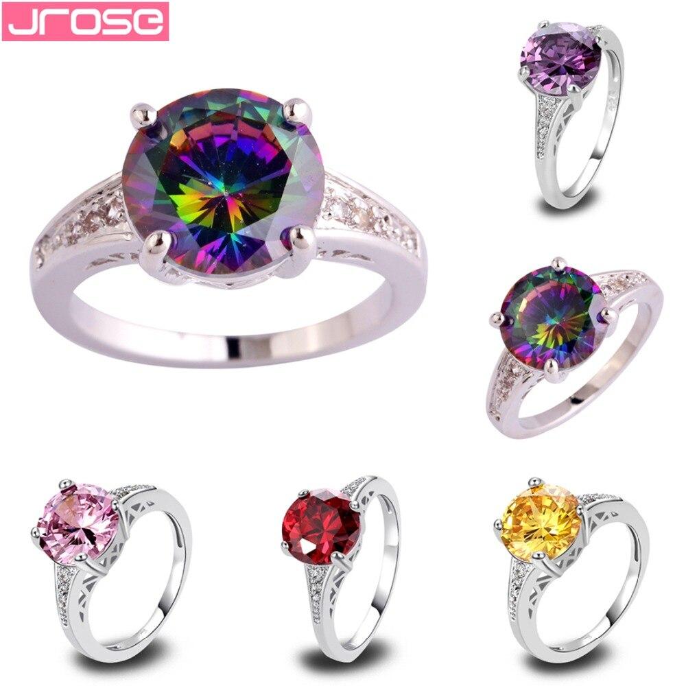 Женское свадебное кольцо с фианитом JROSE, розовое, разноцветное, Красное золото, фиолетовое, фианитовое, серебряное, Размер 6 7 8 9 10 11 12 13
