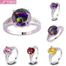 Jrose anel de prata, joias de casamento, rosa, multicolor, ouro vermelho, roxo, zircônio cúbico, tamanho 6, 7, 8, 9, 10, 11 12 13 para mulheres anel aaa