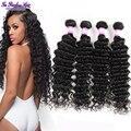 Глубокая волна бразильские волосы дешевые бразильские пучок волос бразильский глубокий вьющиеся волосы девственницы 4 связки unice волос компании вьющиеся переплетения