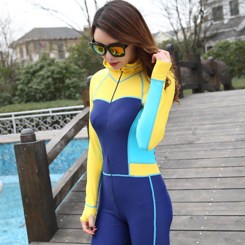 Full Body One-piece Jump Suit Yellow/blue Color Contrast Blocking Womens Lycra Scuba Diving Skin Pink/blue W/hood And Bra