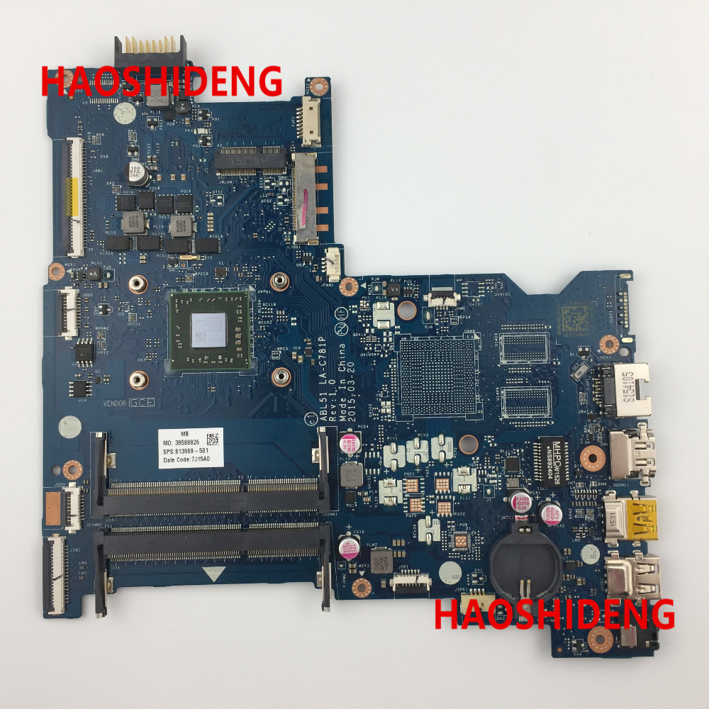Free Shipping 813969-501 ABL51 LA-C781P for HP Notebook 15-AF Series motherboard A8-7410.All functions 100% fully Tested ! nokotion original 813969 001 laptop motherboard for hp notebook 15 af abl51 la c781p 813969 501