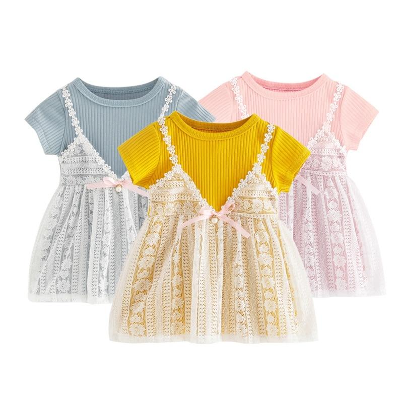 41657c76ea9c WEIXINBUY Summer Baby Girls Casual Dresses New girl short-sleeved lace  princess dress female baby dresses