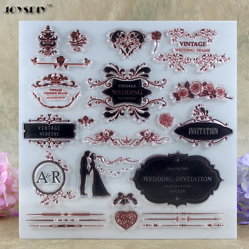Wedding Invitation Vintage Wedding Scrapbook DIY photo cards account rubber stamp clear stamp transparent stamp  20.5*20.5 CM elegant flower lace lacut cut wedding invitations set blank ppaer printing invitation cards kit casamento convite pocket
