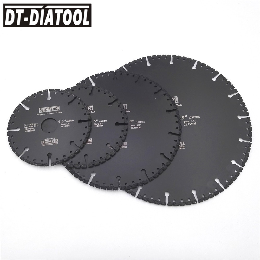 DT-DIATOOL  1pc Vacuum Brazed Diamond Cutting Disc For Multi Purpose For Rebar Aluminum Hard Granite Rescue Saw Blade 4.5