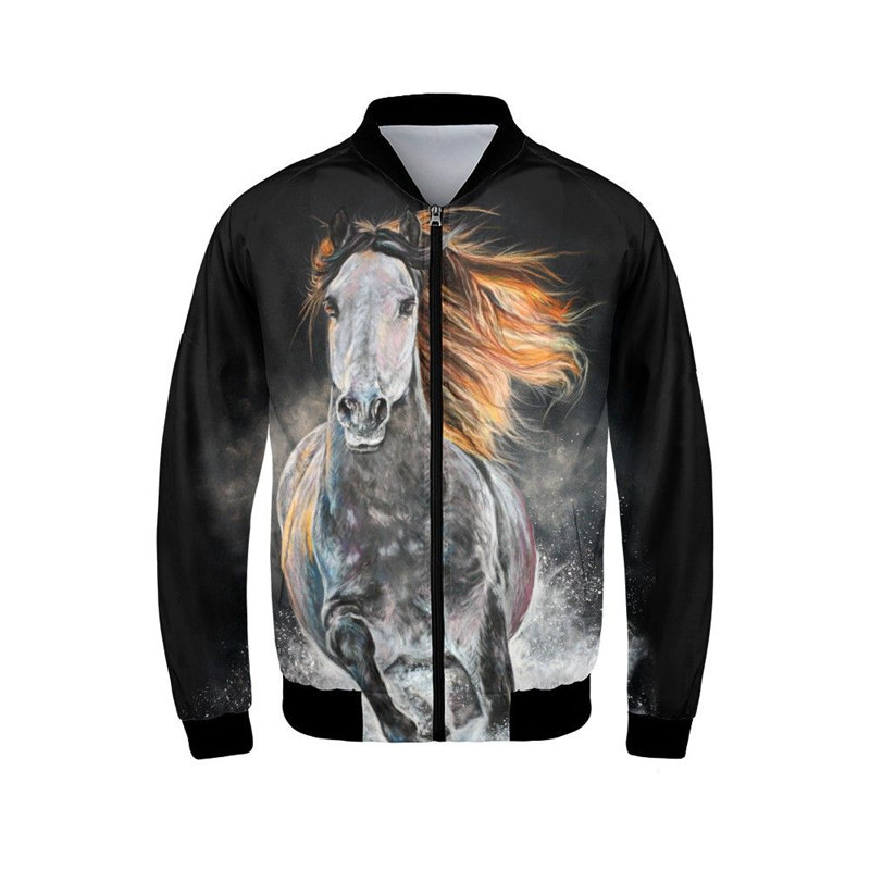 Blouson bomber pour homme mode Cool Animal cheval imprime manteaux col montant manches longues poignets côtelés vêtements de sport