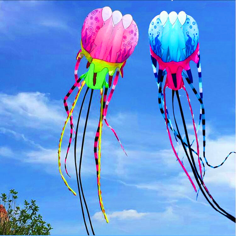 Livraison gratuite 20 m grand doux cerf-volant méduses cerf-volant en nylon ripstop extérieure jouets cerf-volant bobine ligne poulpe cerf-volant rose manche à air