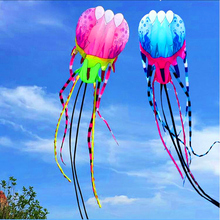 free shipping 20m large soft kite flying jellyfish kite nylon ripstop outdoor toys kite reel line octopus kite pink windsock
