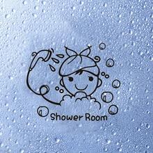Cartoon Cute Bathroom Shower room funny bathe Wall Sticker for kids room DIY Wall Art Decals Stickers Home Decor Wallpaper
