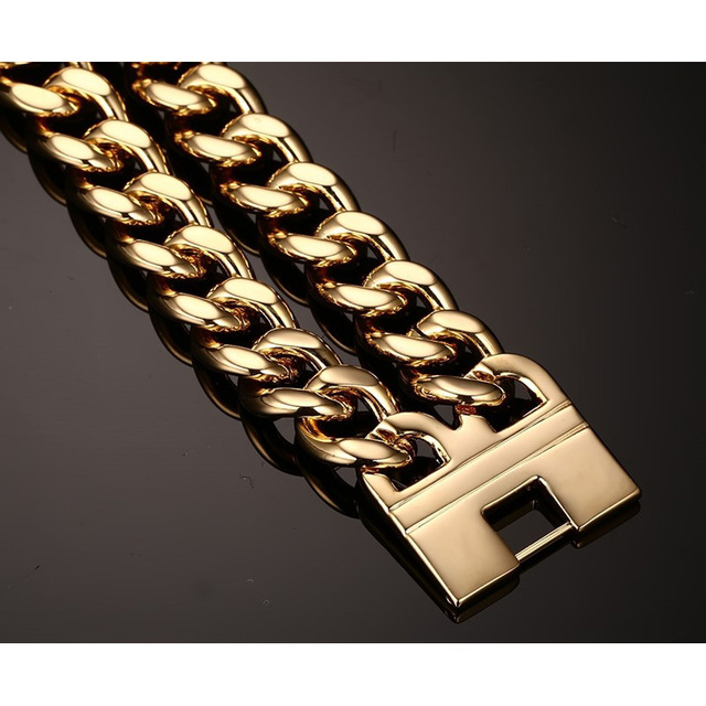 Men's 316L Stainless Steel Jewelry Great Wall Pattern Gold Plated Double Hand Chain Men Bracelet For Male