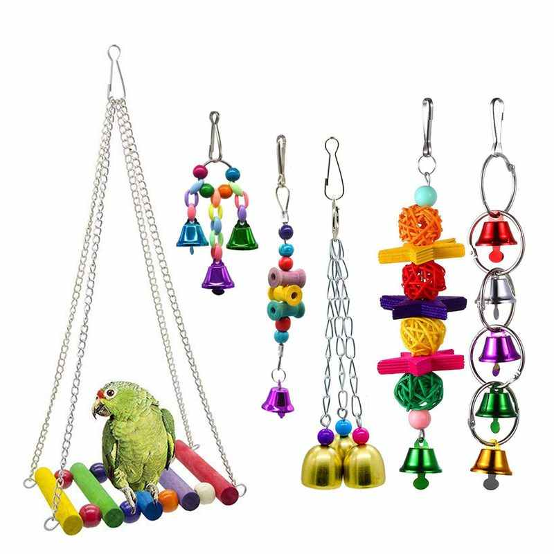 Bird Swing Toys Bell Colorful Natural Wood Hammock Hanging Perch Small Medium Birds Parakeets Cockatiels Conures Macaws Parrot