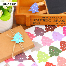 200Pcs/lot Cute Vintage Colourful Christmas Tree Theme Sealing sticker DIY Gifts posted/Baking Decoration label