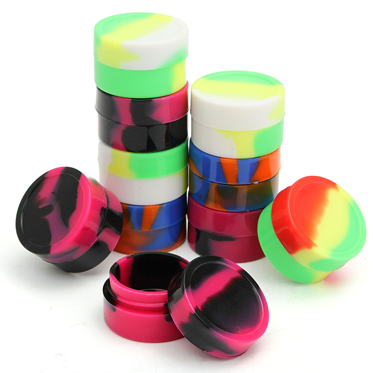 10pcs/Lot 5ml Non-stick Silicone Ball Container For Wax Bho Oil Butane Vaporizer Dab Silicon Jars Cream Emulsion Storage Box