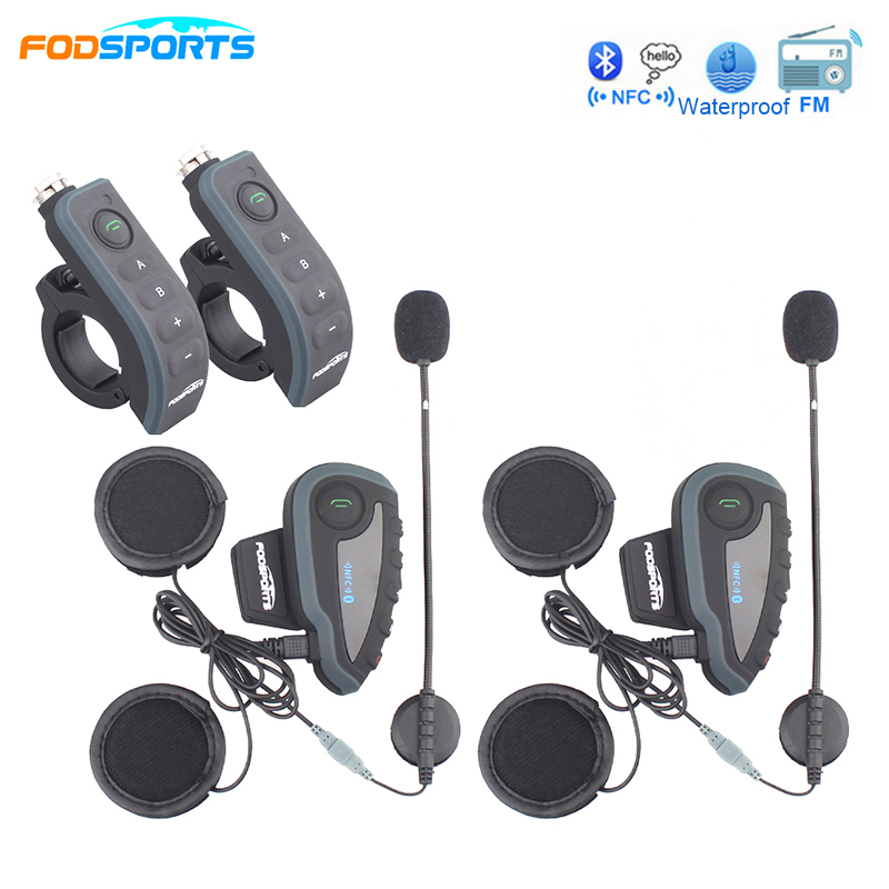 Fodsports 2 pcs/Lot Motorcycle Helmet Headsets Intercom Supported 5 Riders Talking Interphone Headphone BT GPS Connected FM NFC 1000m motorcycle helmet intercom bt s2 waterproof for wired wireless helmet