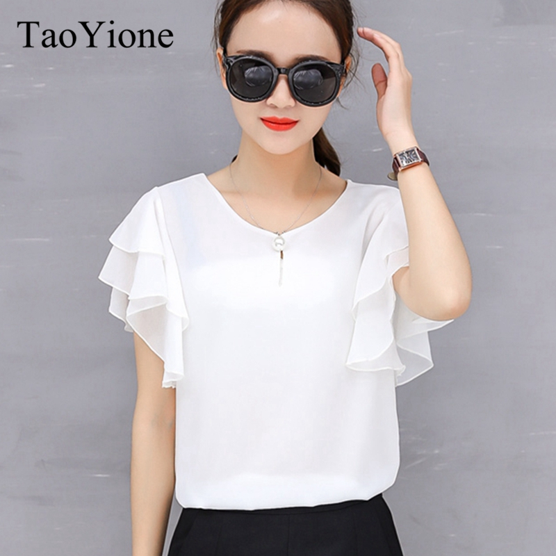 White Shirt Ladies Tops 2019 female shirt Summer season Chiffon Informal Shirts Blusas Feminins Girls Shirt Clothes For Ladies Tops Blouses & Shirts, Low cost Blouses & Shirts, White...