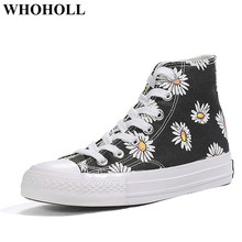 New Women High Top Canvas Shoes Lace-up Sneakers with Floral Print Stylish Female Skate Footwear Black Student Anti-skid Design stylish women s sandals with flowers and black colour design