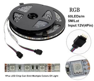 Image 3 - 5050 LED Strip DC 12V No Waterproof / Waterproof 60LED/m RGB / White / Warm White Flexible LED Light Strips 5M/lot