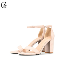 Купить с кэшбэком GOXEOU 2019 Ankle Strap Heels Women Sandals Summer Shoes Women Open Toe Chunky High Heels Party Dress Sandals size 42 43 45 46