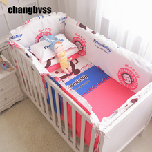 Promotion! Hot Baby Crib Kit For Cot, Bed Sheet Quilt Pillow Cover And Filling Bumpers For Cots, 100% Cotton Baby Bedding Sets