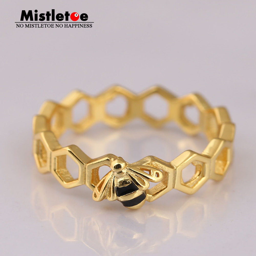 Authentic 925 sterling Silver Limited Edition Mistletoe Honeybee Ring, Mistletoe Shine & Black Enamel Fit European Jewelry