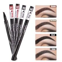 Microblading Eyebrow Tattoo Pen Professional Fine Sketch Liquid Eye Brow Pencil Waterproof 4 Heads Tint Enhancer