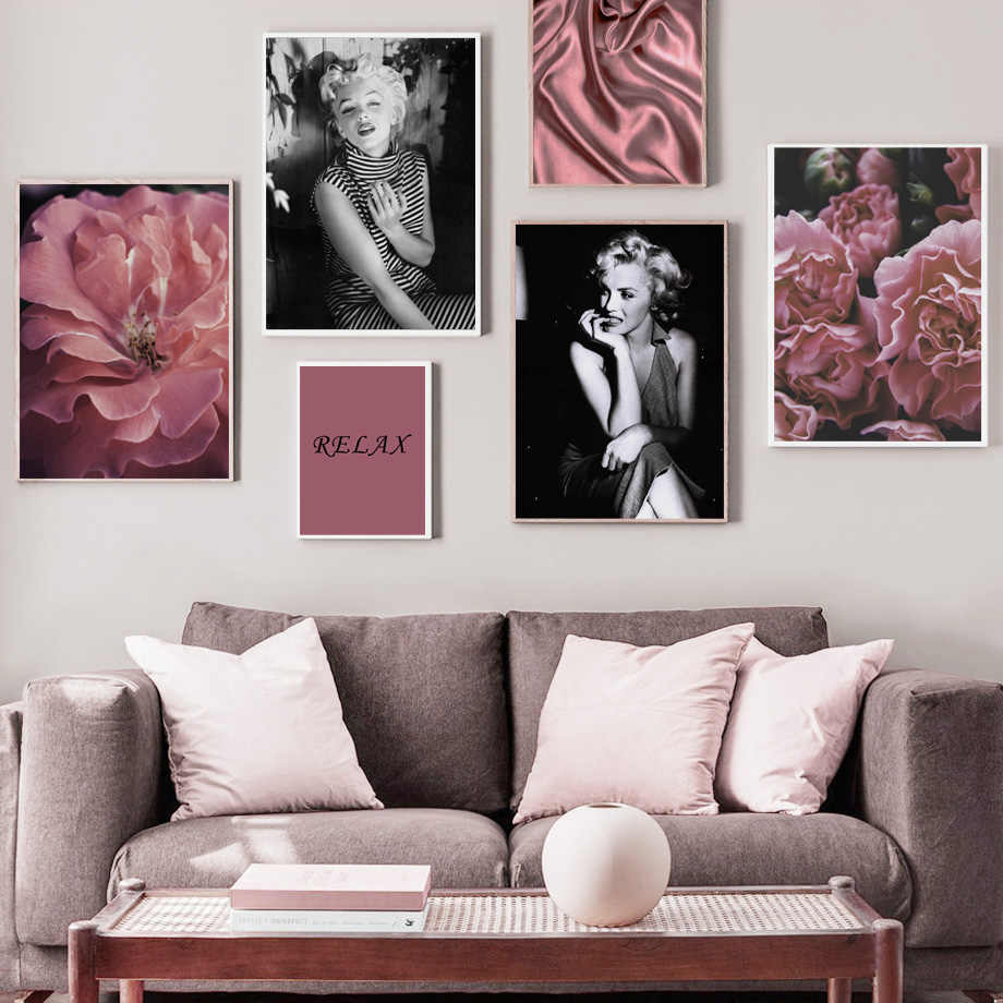 Marilyn Monroe Peony Flower Relax Quotes Wall Art Canvas Painting Nordic Posters And Prints Wall Pictures For Living Room Decor