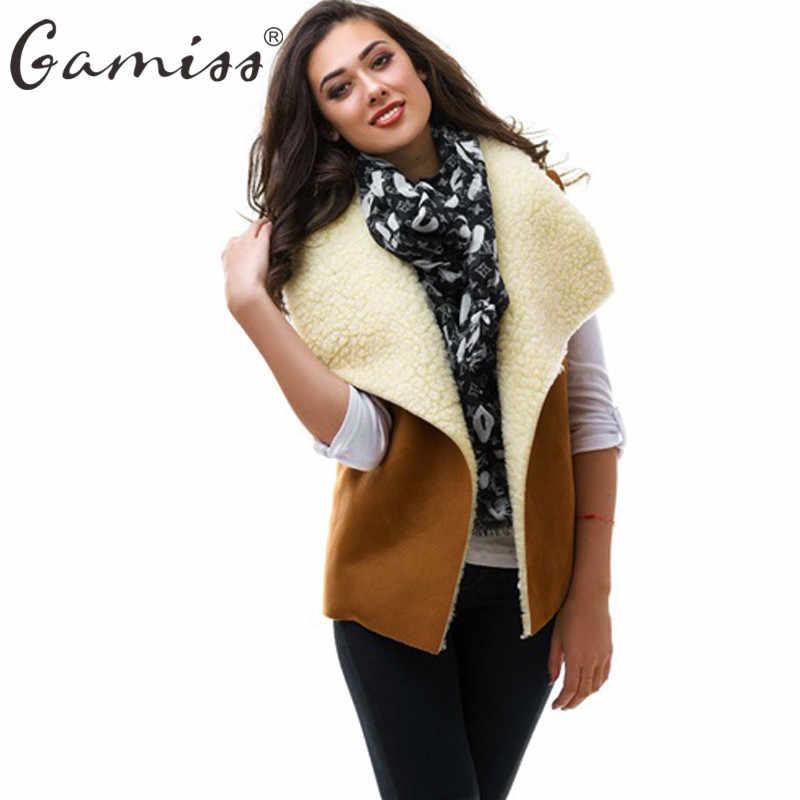 e3eda86c79d Gamiss 2018 Women Basic Sherpa Vest Coat Female Winter Autumn Warm  Sleeveless Outwear Cool Waistcoat For
