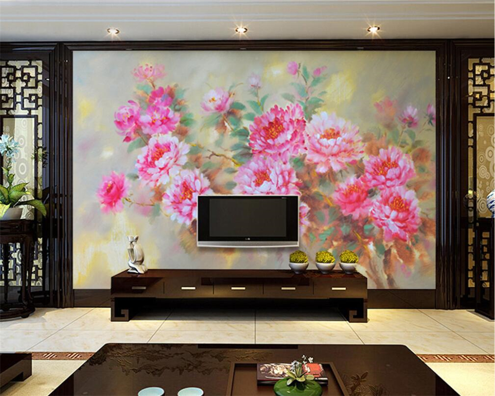 beibehang Home Decorative Wallpaper HD Graceful Flying Peony Flower Oil Painting Living Room Bedroom TV Background 3d wallpaper