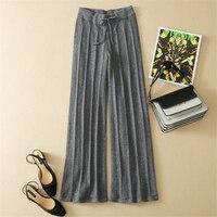 high grade pure goat cashmere knit women fashion wide leg trousers loose pleated pants M/L khaki 3colors