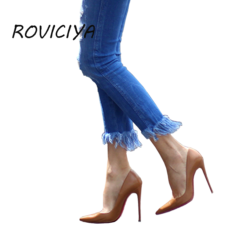 527734b46a0 Woman High Heels Women Shoes Pumps 12 cm Stilettos Shoes For Women PU  Leather Wedding Shoes brown apricot black YG001 ROVICIYA