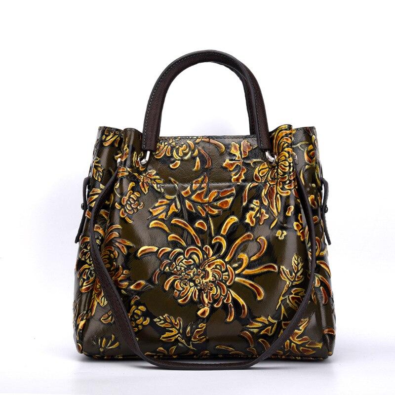 Bagaj ve Çantalar'ten Üstten Saplı Çanta'de Kadın Omuz Kabartmalı Messenger Çapraz Vücut Çanta Tote Çanta Ulusal Stil En saplı çanta Kadın hakiki deri çanta'da  Grup 3