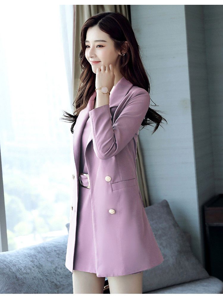 Autumn Business Suit Elegant Office Dress Lady Work 2 Pieces Set Long Sleeve Blazer and Sleeveless Dress Suit Set 28