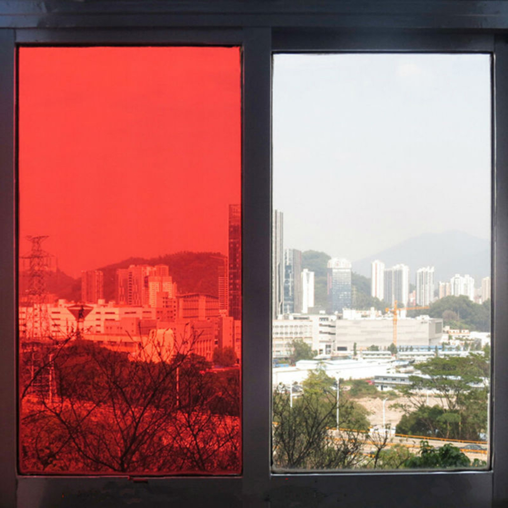 0.5x30m Transparent Red Window Film Solar Tint Self-adheisve Block Sun Decorative Window Glass for Office Home Building 50x152cm safety film 4mil thickness transparent security glass protective tint film for window bathroom glass shatter proof
