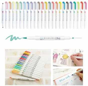 5pcs/set japan zebra WFT8 mild liner watercolor brush pen Creative Limit double-headed marker pen School supplies kawaii