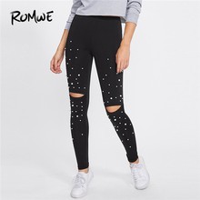 05e905f4f Romwe Sport Pearl Beading Knee Open Leggings 2018 Autumn Mid Waist Capris  Trousers Women Cut Out Fitness Pants Sport Gym Tights