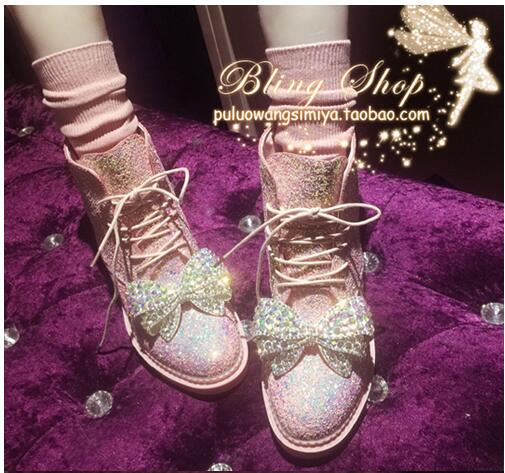 Women's Boots Rhinestones-Bow Sequins Female European-Station Sweet Fashion New Ankle