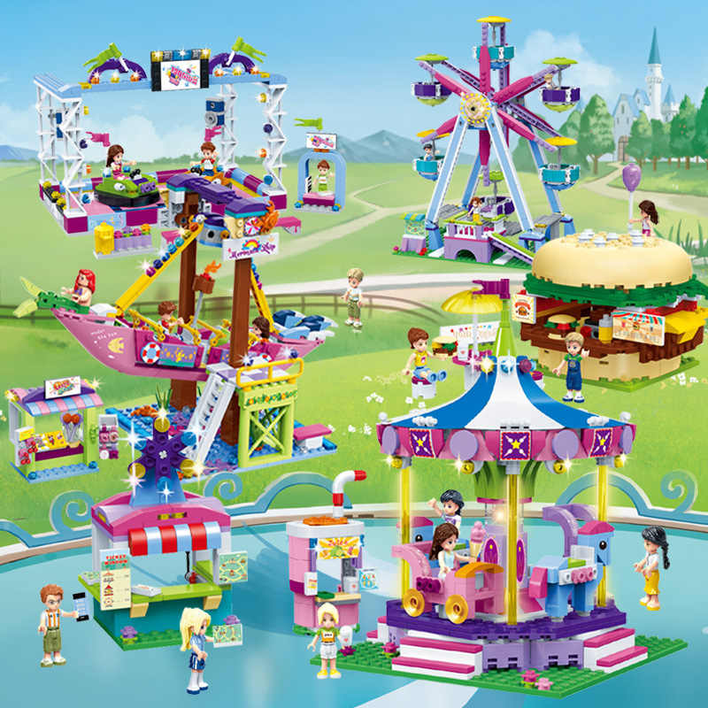 Girl Friends Series Amusement Park Ferris Wheel Legoed Model Building Blocks Bricks Playgame Toys for Children Toy Gifts