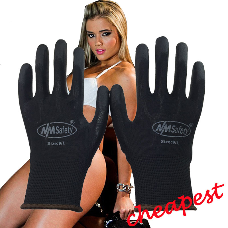 NMSAFETY 13G black PU Work Gloves Palm Coated working gloves,Workplace Safety Supplies,Safety Gloves guantes trabajo nmsafety 3 pairs 13 gauge polyester liner coated pu palm with red flowers print garden gloves for ladies