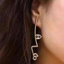 Abstract Art Earrings Exaggerated Alloy Face Pendant Retro Stud Earrings for Women Fashion Wild Geometric Earrings retro style sand surface ball shaped alloy stud earrings