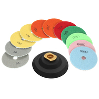 11pcs 4 Grinding Disc dremel accessories Diamond Wet Polishing Pads abrasive tools + 1pc Backing Pad for Granite Marble Stone