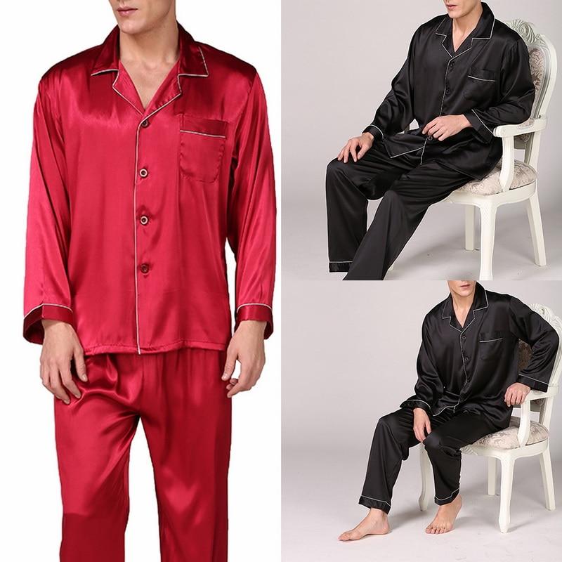 Men's Stain Silk Pajama Set Modern Style Sleepwears Men Sexy Soft Homme Cozy Satin Nightgown Casual Lounge Pajama Sets Nightwear