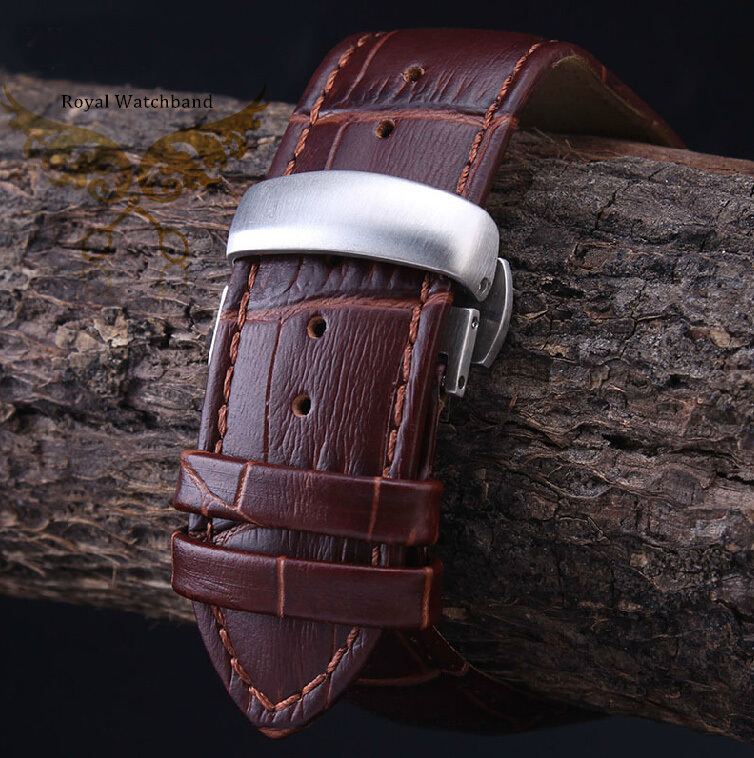 где купить  22mm 23mm 24mm Brown Alligator Pattern Genuine Leather Watch Band Strap Silver Brushed Stainless Steel Butterfly Buckle Clasp  по лучшей цене