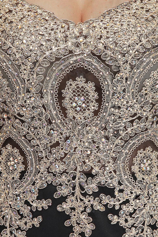 Élégante mère de la mariée robe dentelle Satin 2019 sirène à manches longues Applique noir longue formelle fête robes de soirée pour mariage - 3