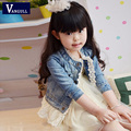 2016 Spring and summer Girls Kids Lace Cowboy Jacket Denim Top Button Jean Net yarn splicing Coat Costume Long Sleeve Outfits
