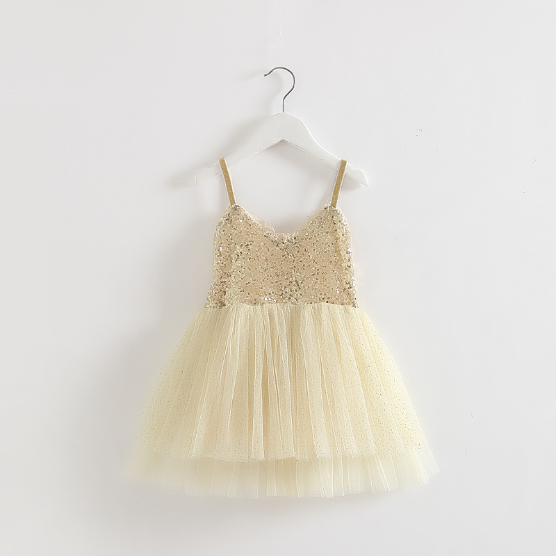 Baby girl suspender V neck braces dress with gold sequin