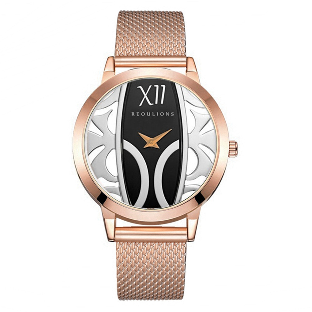 Women Watches Black And Rose Gold Women Watches Waterproof Stainless Steel Leather Clock Women Gold relogio feminino