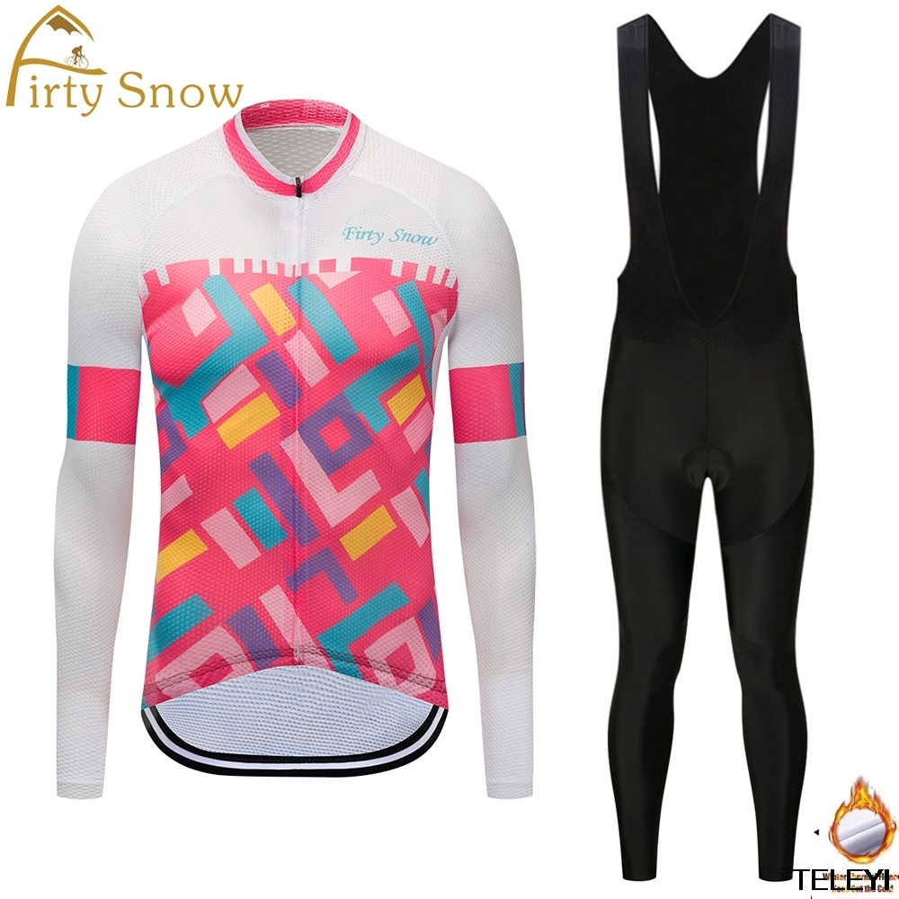 Firty snow Brand 2017 High Quality Bicycle Cycling Winter Thermal Fleece Jersey Long Set Ropa Ciclismo Bike Clothing Pants W008