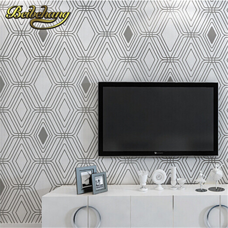 beibehang 3D wallpaper modern simple wall paper roll non-woven wallpaper living room purple/white Lattice papel de parede listra beibehang embossed damascus non woven wall paper roll modern designer papel de parede 3d wall covering wallpaper for living room