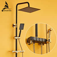 Shower Faucets Wall Mounted Thermostatic Shower Mixer Tap Antique Brass Dual Handle With Slide Bar Shower For Bathroom 877839